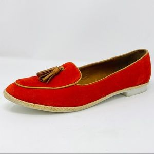 DOLCE VITA Red Suede Espadrille Loafers w/ Tassels
